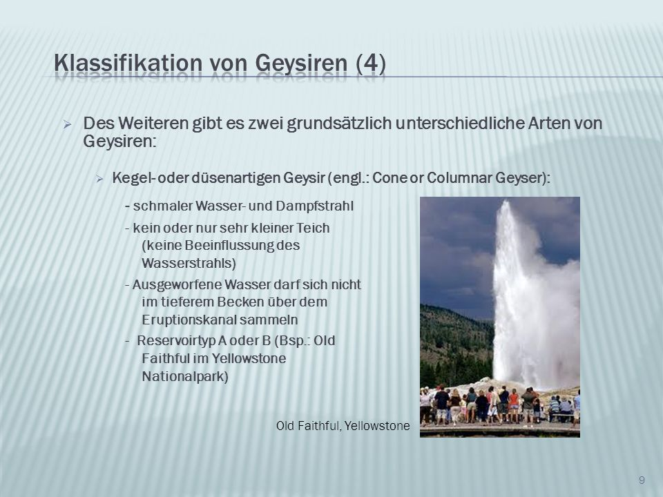 Klassifikation von Geysiren (4)