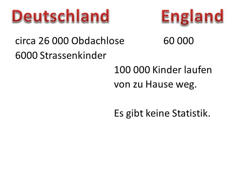 Deutschland England circa 26 000 Obdachlose 60 000 6000 Strassenkinder 100 000 Kinder laufen von zu Hause weg.