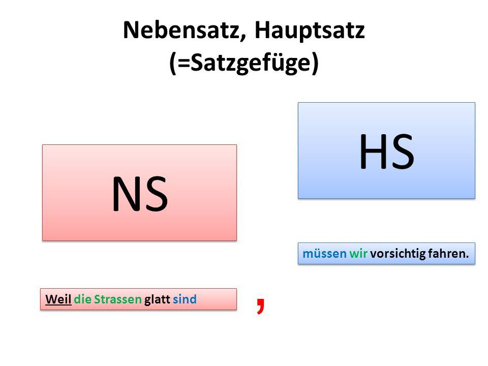 Nebensatz, Hauptsatz (=Satzgefüge)