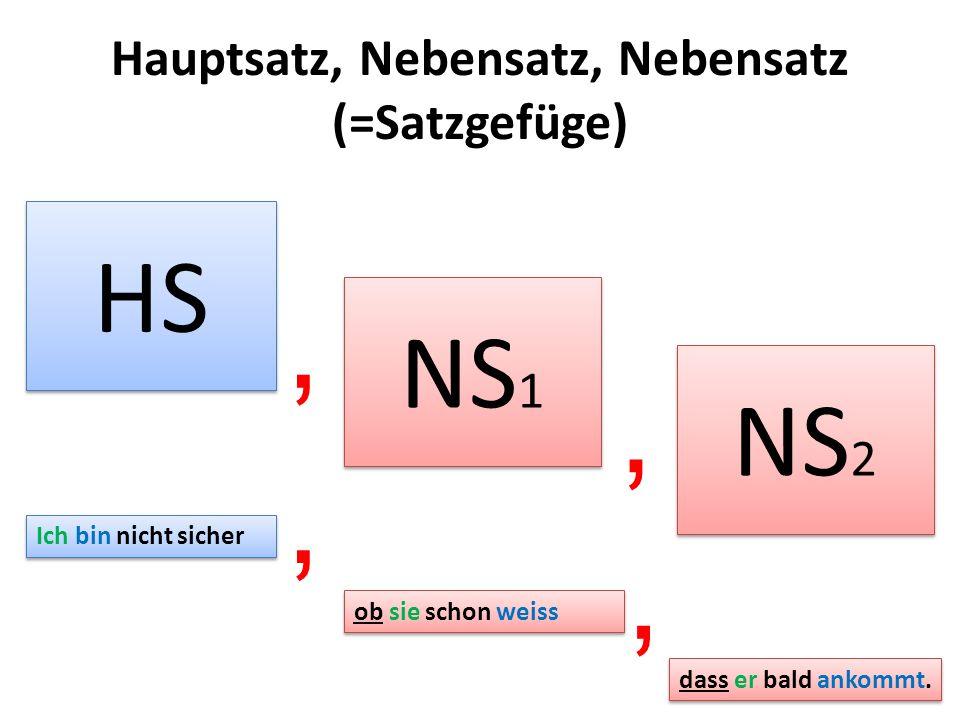 Hauptsatz, Nebensatz, Nebensatz (=Satzgefüge)