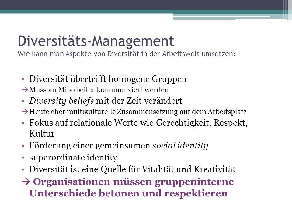 Diversitäts-Management Wie kann man Aspekte von Diversität in der Arbeitswelt umsetzen