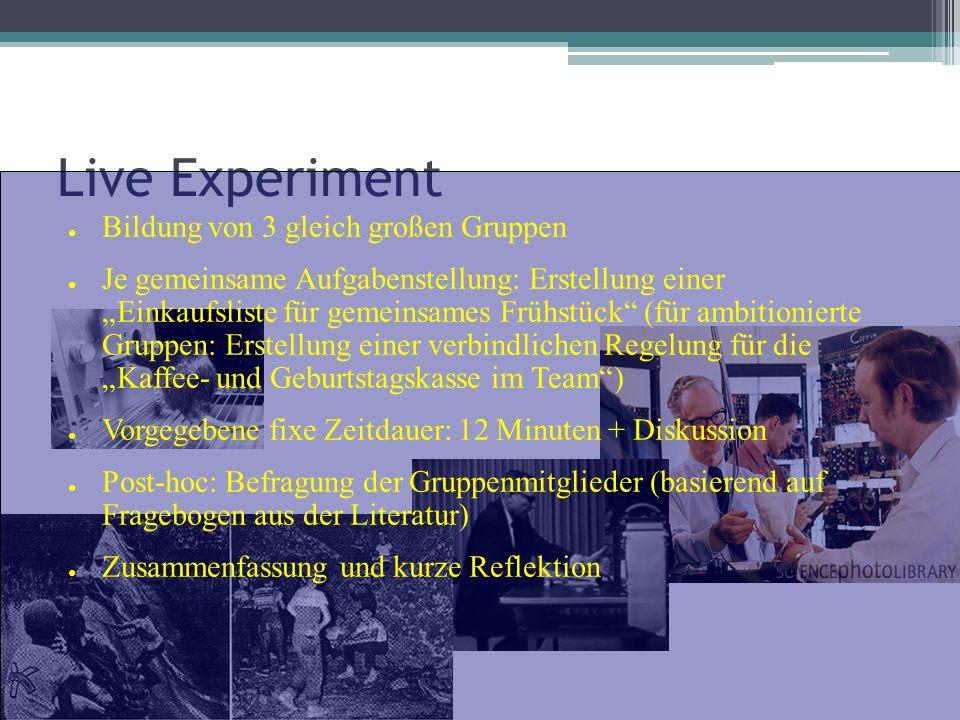 Live Experiment Bildung von 3 gleich großen Gruppen