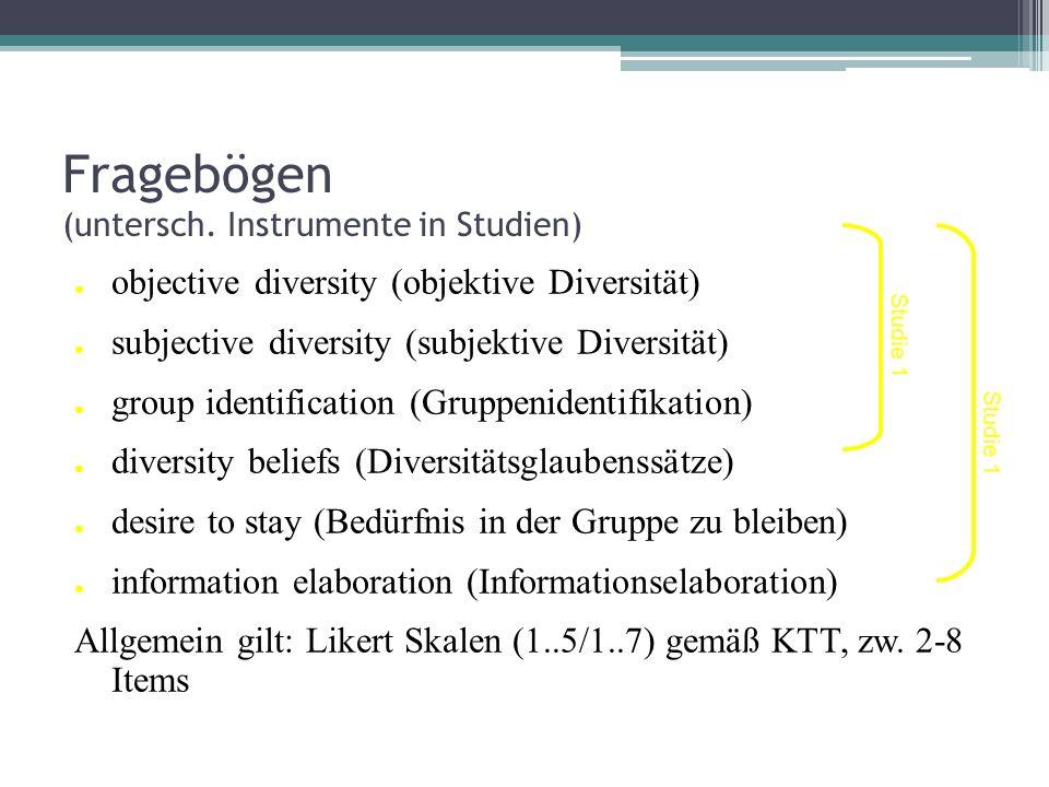 Fragebögen (untersch. Instrumente in Studien)