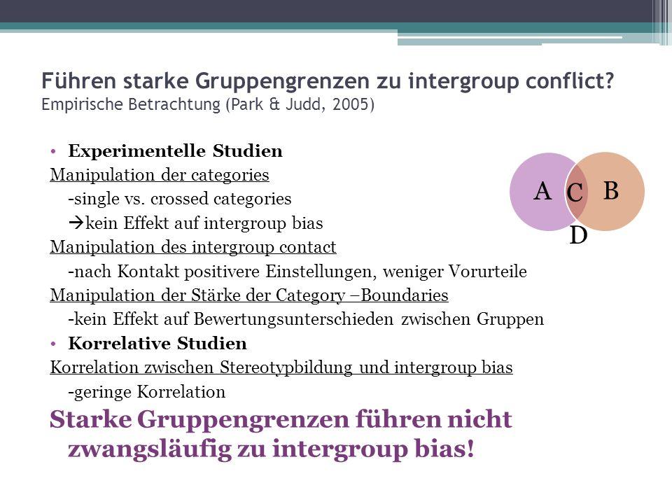 Führen starke Gruppengrenzen zu intergroup conflict