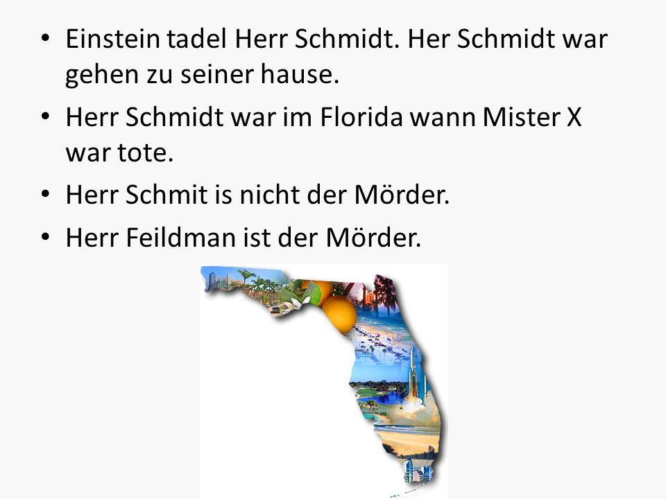 Einstein tadel Herr Schmidt. Her Schmidt war gehen zu seiner hause.