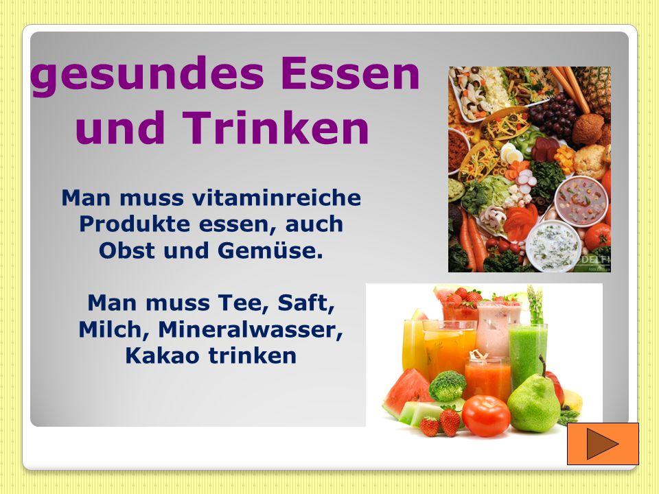gesundes Essen und Trinken