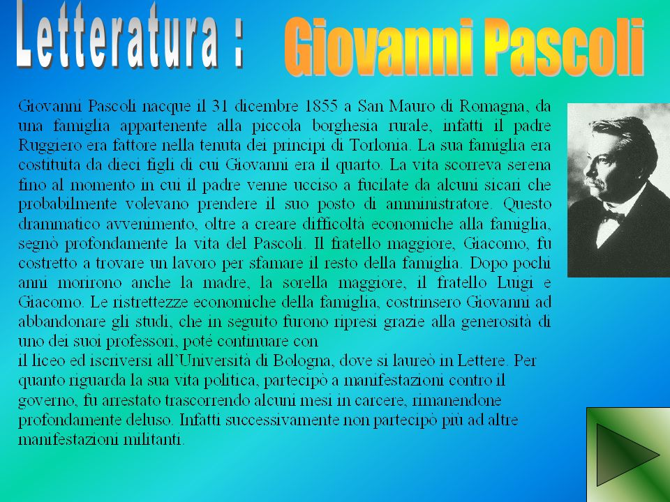 Letteratura : Giovanni Pascoli