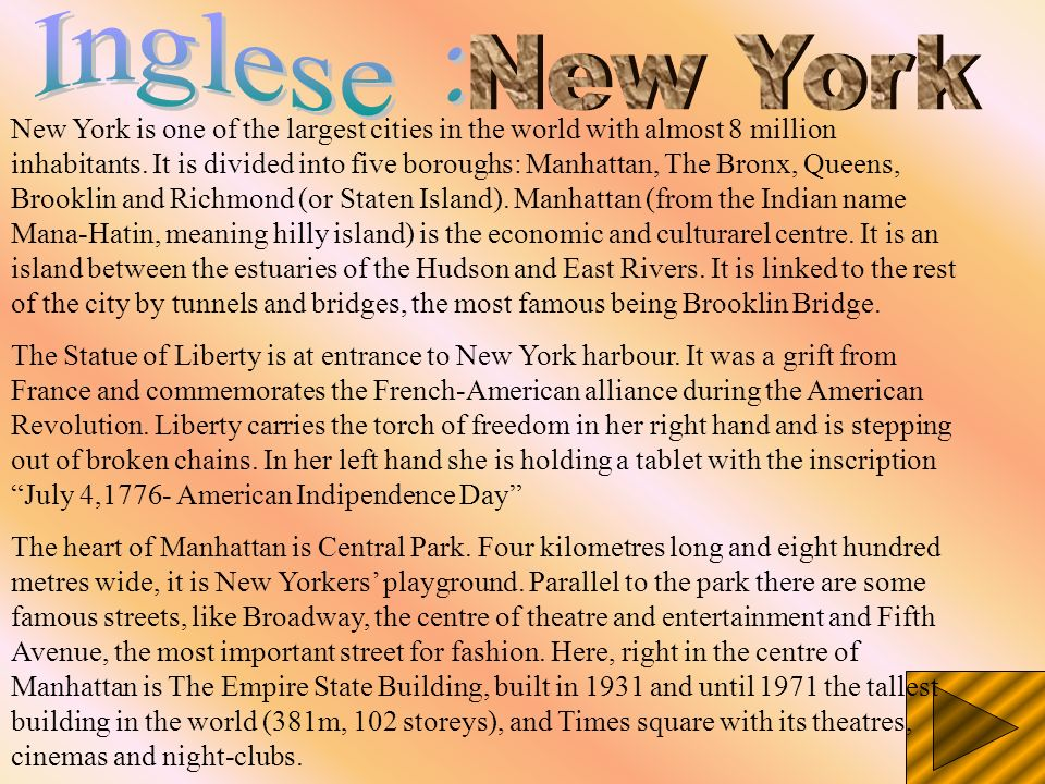 Inglese : New York.