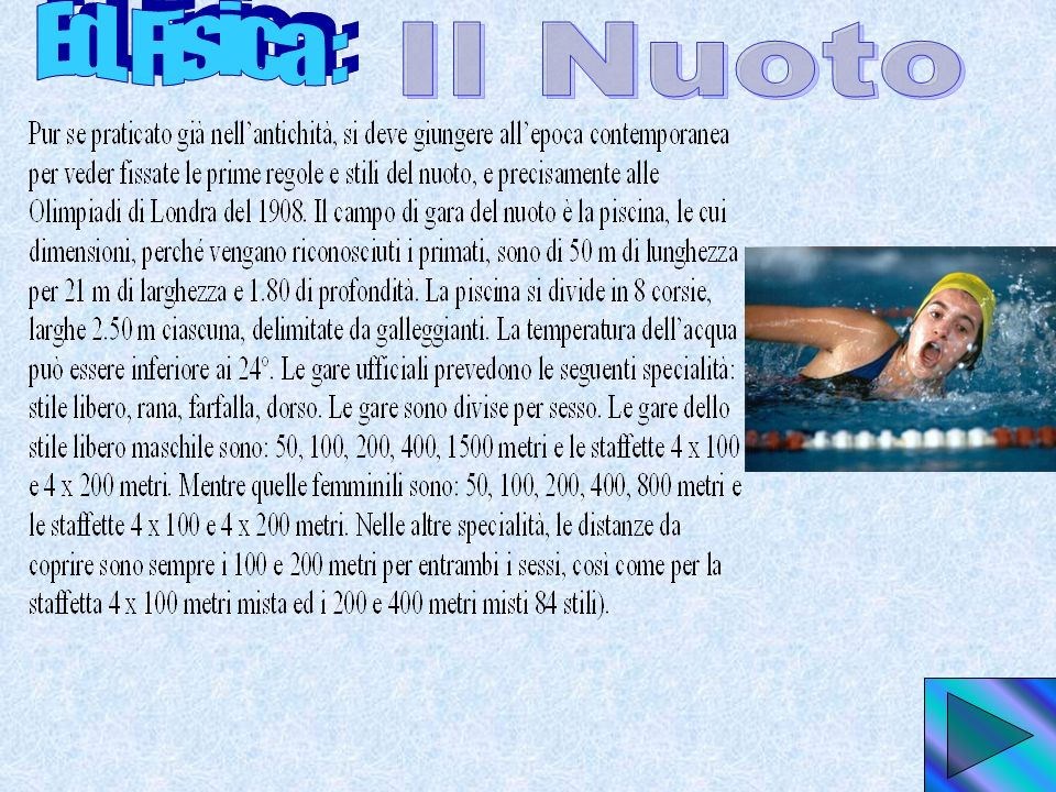 Ed. Fisica : Il Nuoto