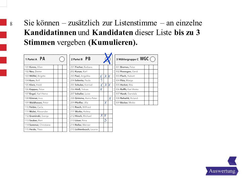 Sie können – zusätzlich zur Listenstimme – an einzelne Kandidatinnen und Kandidaten dieser Liste bis zu 3 Stimmen vergeben (Kumulieren).