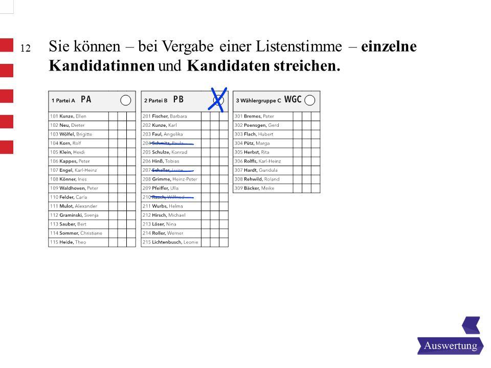 Sie können – bei Vergabe einer Listenstimme – einzelne Kandidatinnen und Kandidaten streichen.