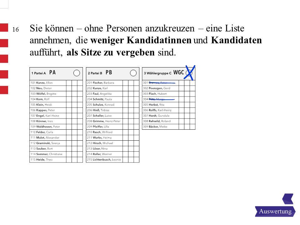 Sie können – ohne Personen anzukreuzen – eine Liste annehmen, die weniger Kandidatinnen und Kandidaten aufführt, als Sitze zu vergeben sind.