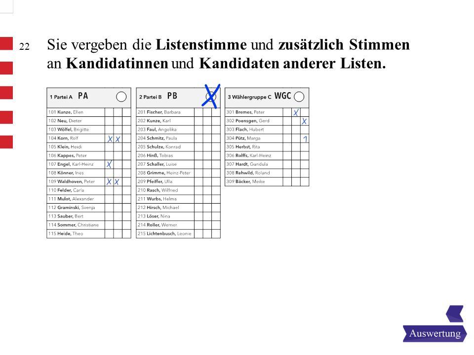 Sie vergeben die Listenstimme und zusätzlich Stimmen an Kandidatinnen und Kandidaten anderer Listen.