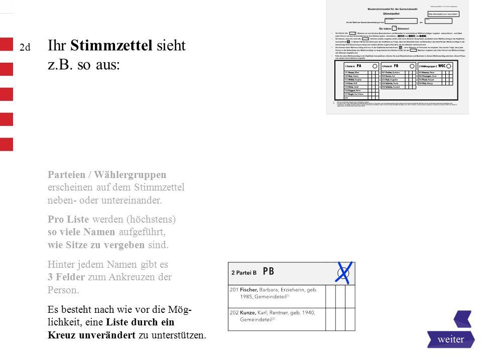 Ihr Stimmzettel sieht z.B. so aus:
