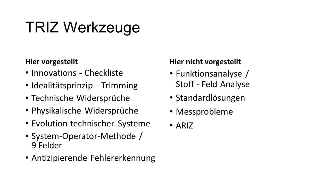 TRIZ Werkzeuge Innovations - Checkliste Idealitätsprinzip - Trimming