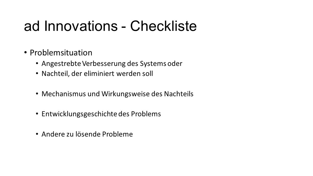 ad Innovations - Checkliste