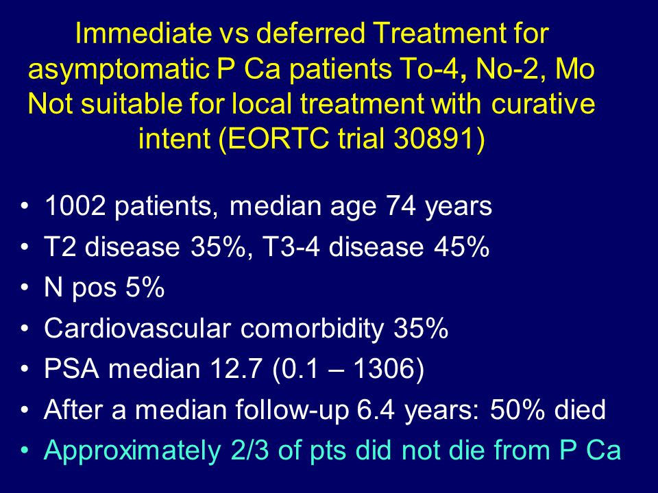 Immediate vs deferred Treatment for asymptomatic P Ca patients To-4, No-2, Mo Not suitable for local treatment with curative intent (EORTC trial 30891)
