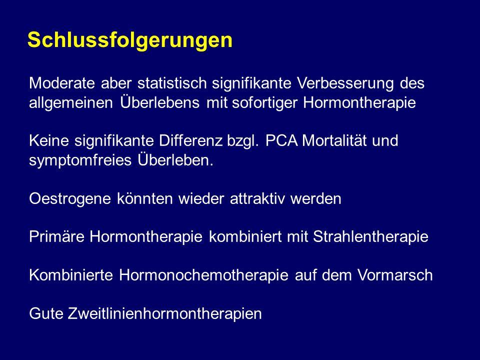 Schlussfolgerungen Moderate aber statistisch signifikante Verbesserung des allgemeinen Überlebens mit sofortiger Hormontherapie.