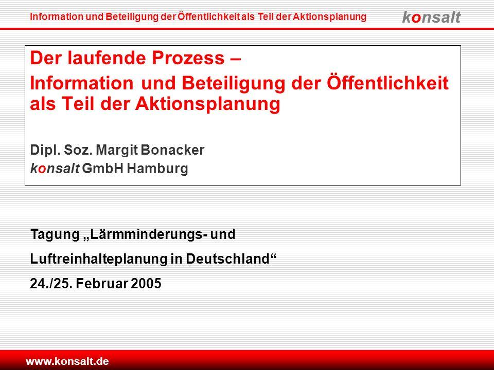 Der laufende Prozess – Information und Beteiligung der Öffentlichkeit als Teil der Aktionsplanung. Dipl. Soz. Margit Bonacker.