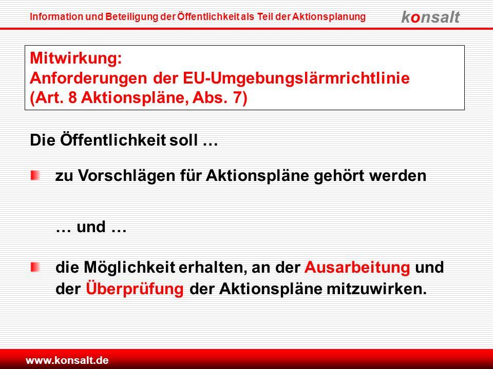Mitwirkung: Anforderungen der EU-Umgebungslärmrichtlinie (Art
