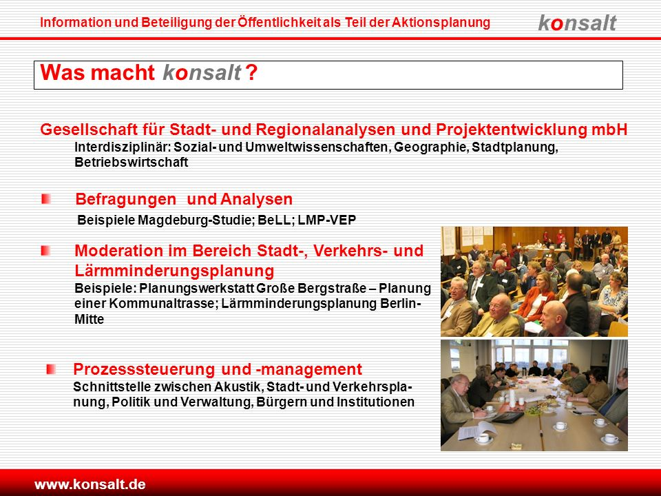 Was macht konsalt Gesellschaft für Stadt- und Regionalanalysen und Projektentwicklung mbH.