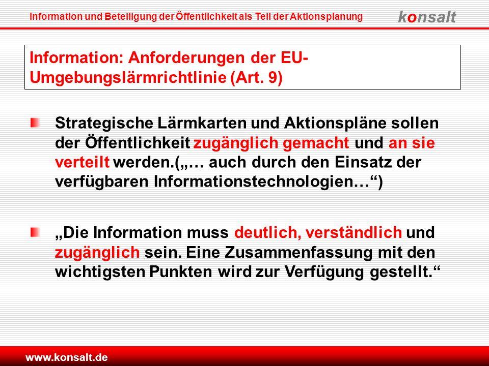 Information: Anforderungen der EU-Umgebungslärmrichtlinie (Art. 9)