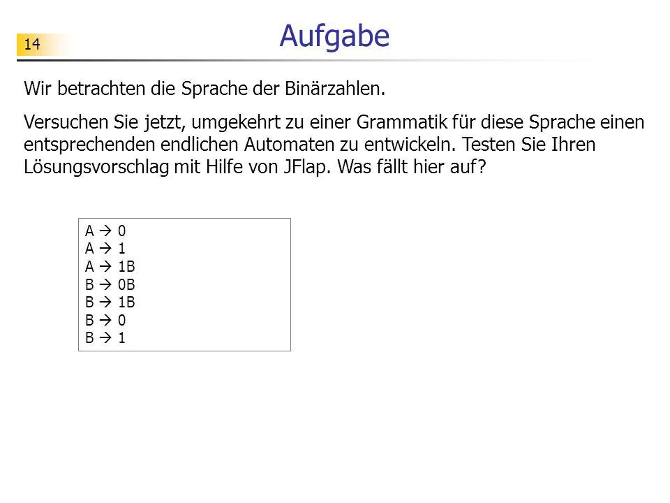 Aufgabe Wir betrachten die Sprache der Binärzahlen.