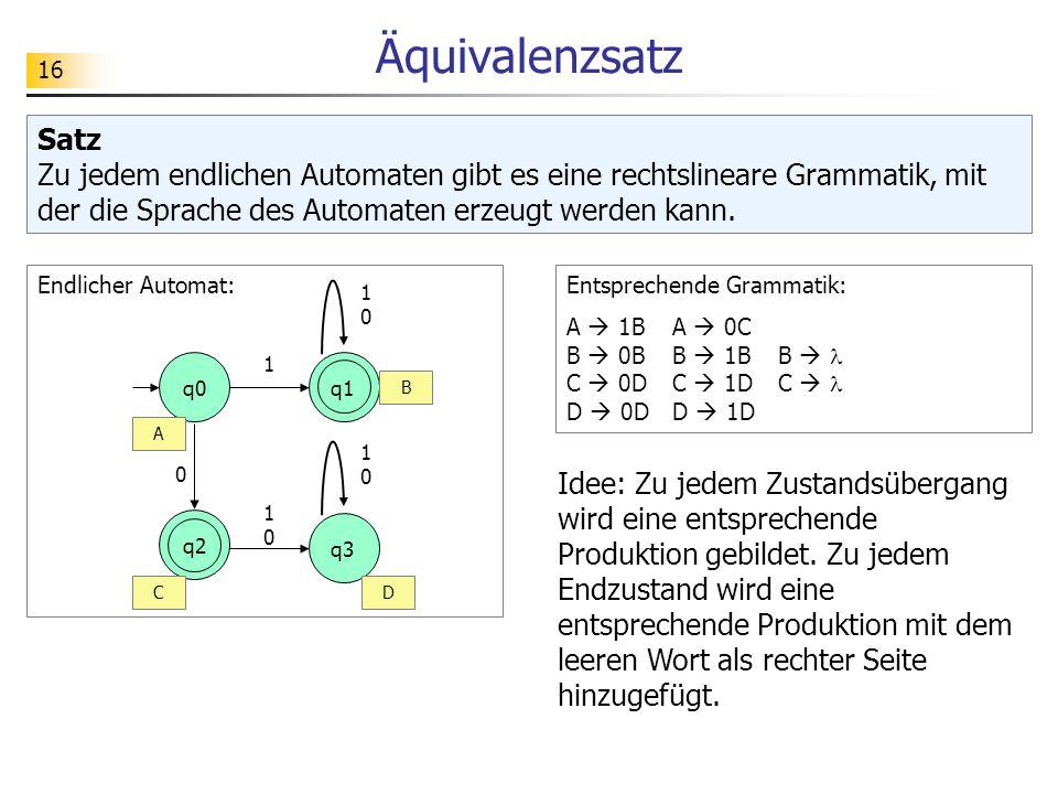 Äquivalenzsatz Satz Zu jedem endlichen Automaten gibt es eine rechtslineare Grammatik, mit der die Sprache des Automaten erzeugt werden kann.