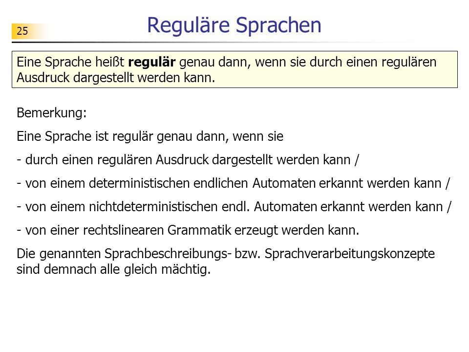 Reguläre SprachenEine Sprache heißt regulär genau dann, wenn sie durch einen regulären Ausdruck dargestellt werden kann.