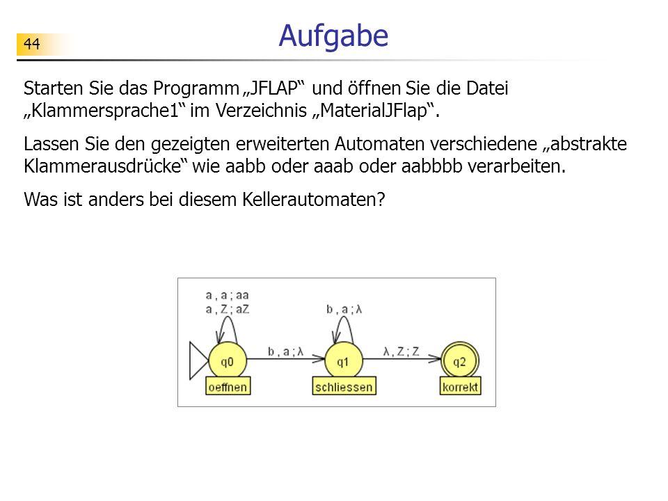 """Aufgabe Starten Sie das Programm """"JFLAP und öffnen Sie die Datei """"Klammersprache1 im Verzeichnis """"MaterialJFlap ."""