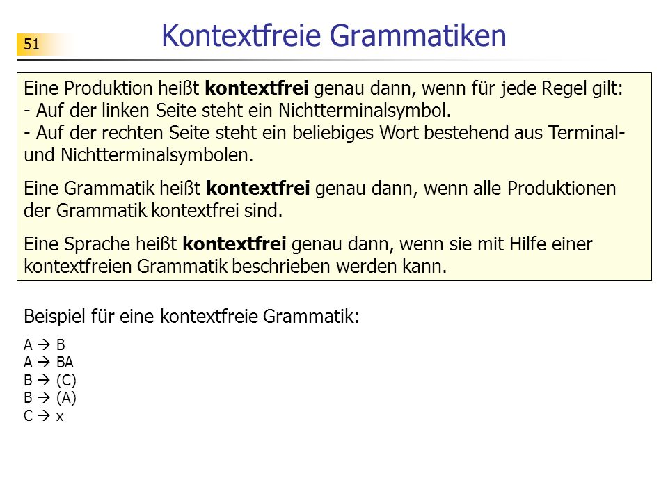 Kontextfreie Grammatiken