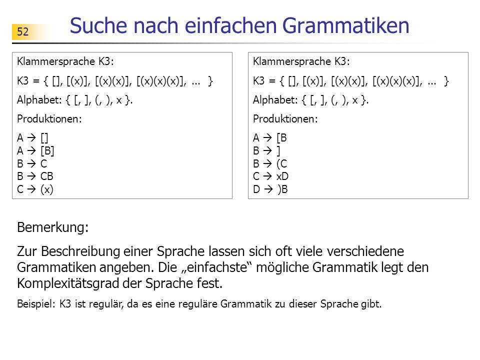 Suche nach einfachen Grammatiken