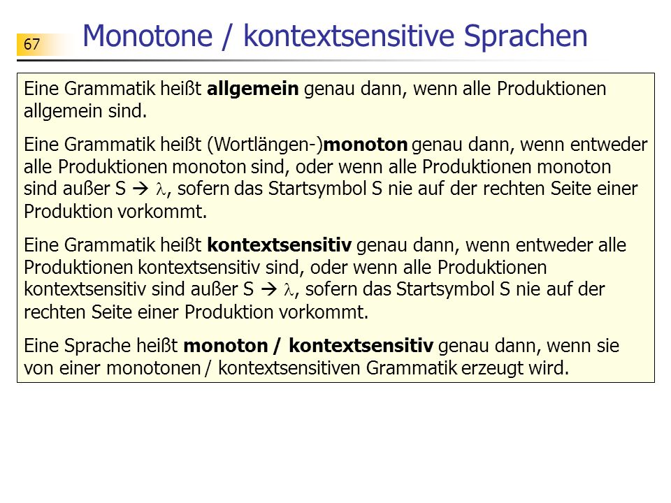 Monotone / kontextsensitive Sprachen