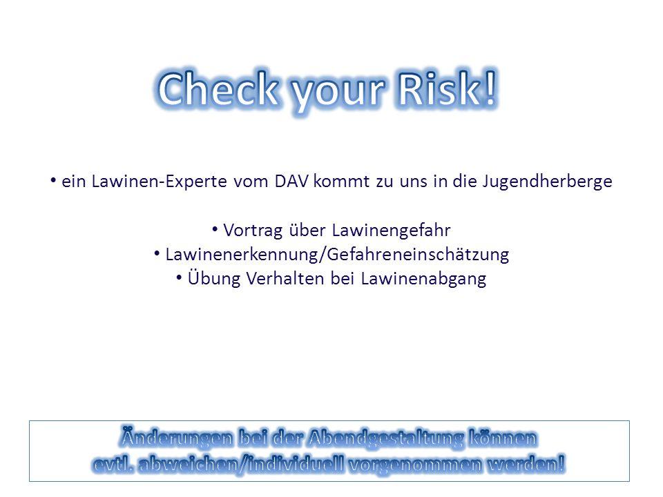 Check your Risk! Änderungen bei der Abendgestaltung können
