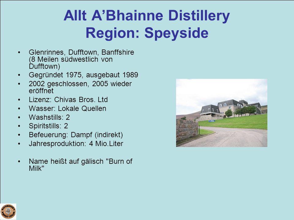 Allt A'Bhainne Distillery Region: Speyside
