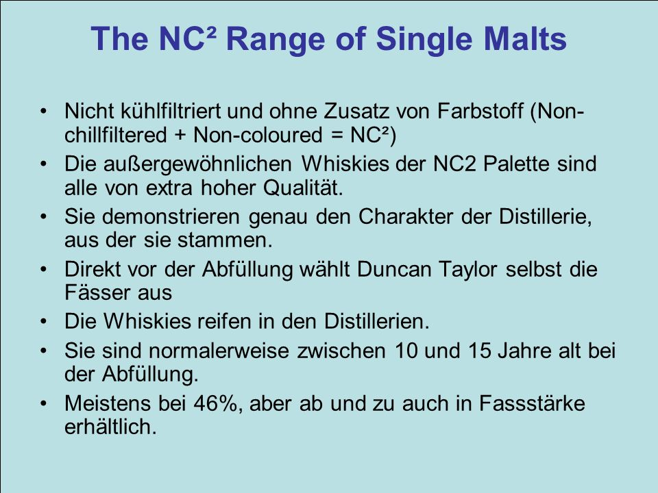 The NC² Range of Single Malts