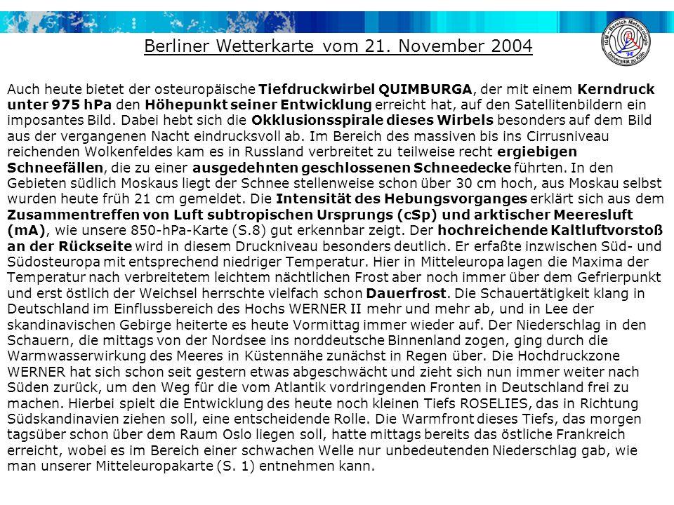 Berliner Wetterkarte vom 21. November 2004