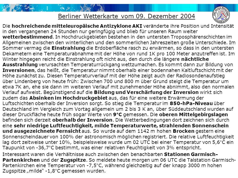 Berliner Wetterkarte vom 09. Dezember 2004