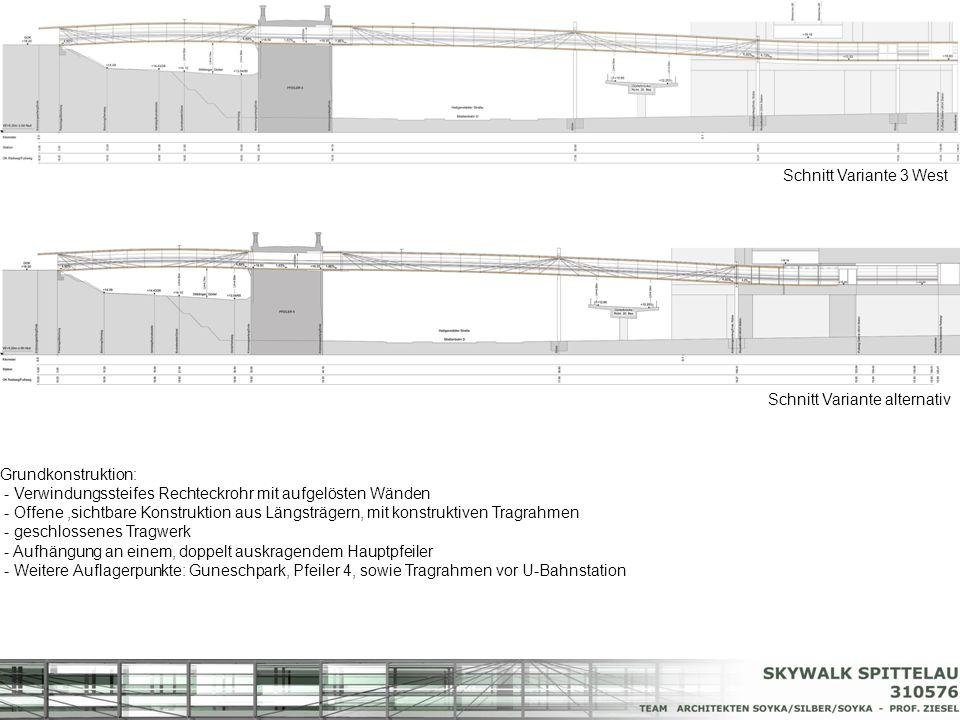 Schnitt Variante 3 West Schnitt Variante alternativ. Grundkonstruktion: - Verwindungssteifes Rechteckrohr mit aufgelösten Wänden.