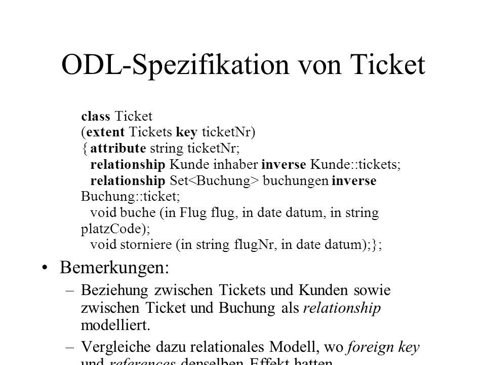 ODL-Spezifikation von Ticket