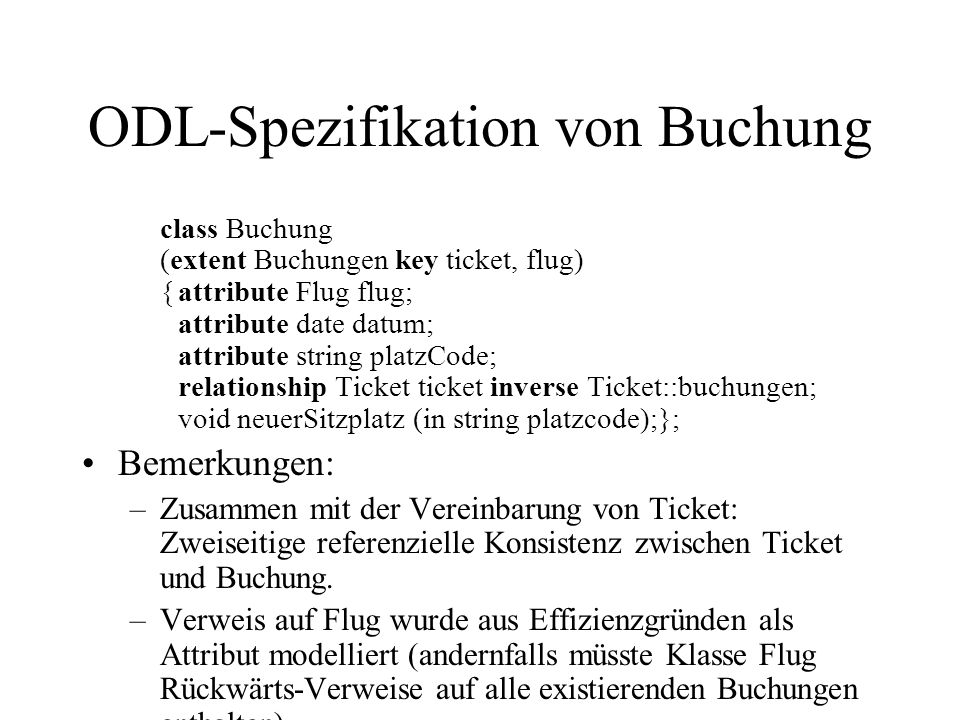 ODL-Spezifikation von Buchung