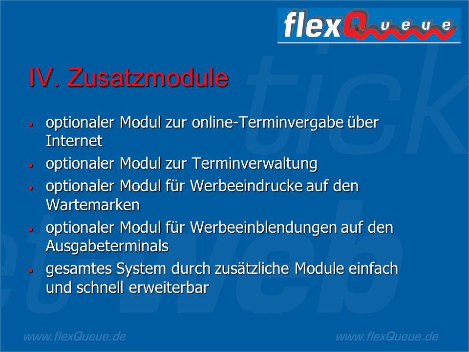 IV. Zusatzmodule optionaler Modul zur online-Terminvergabe über Internet. optionaler Modul zur Terminverwaltung.