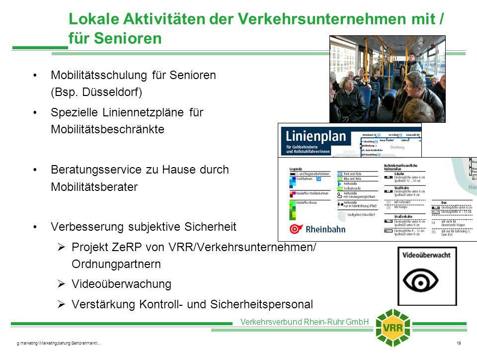 Lokale Aktivitäten der Verkehrsunternehmen mit / für Senioren