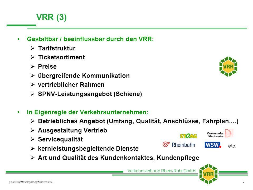 VRR (3) Gestaltbar / beeinflussbar durch den VRR: Tarifstruktur