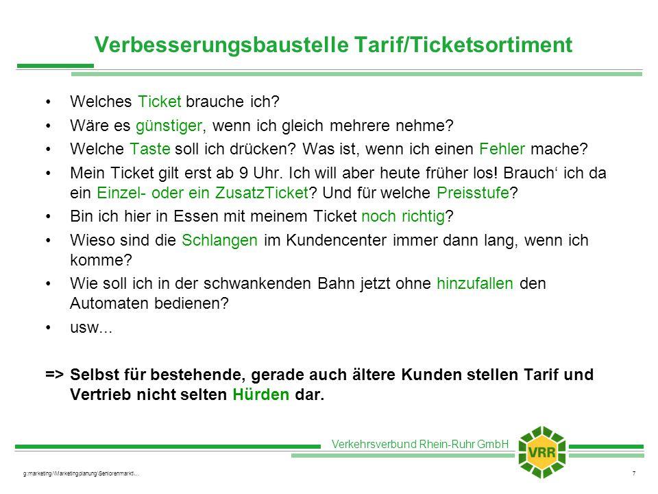 Verbesserungsbaustelle Tarif/Ticketsortiment
