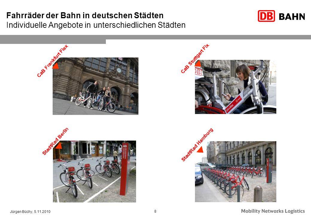Fahrräder der Bahn in deutschen Städten Individuelle Angebote in unterschiedlichen Städten