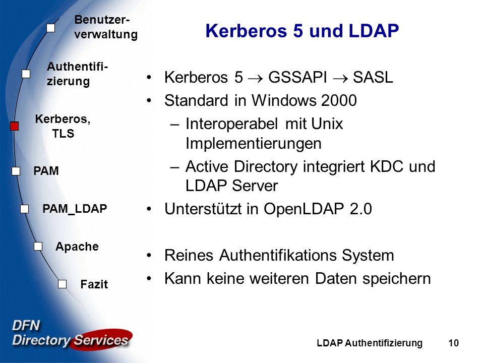 Kerberos 5 und LDAP Kerberos 5  GSSAPI  SASL