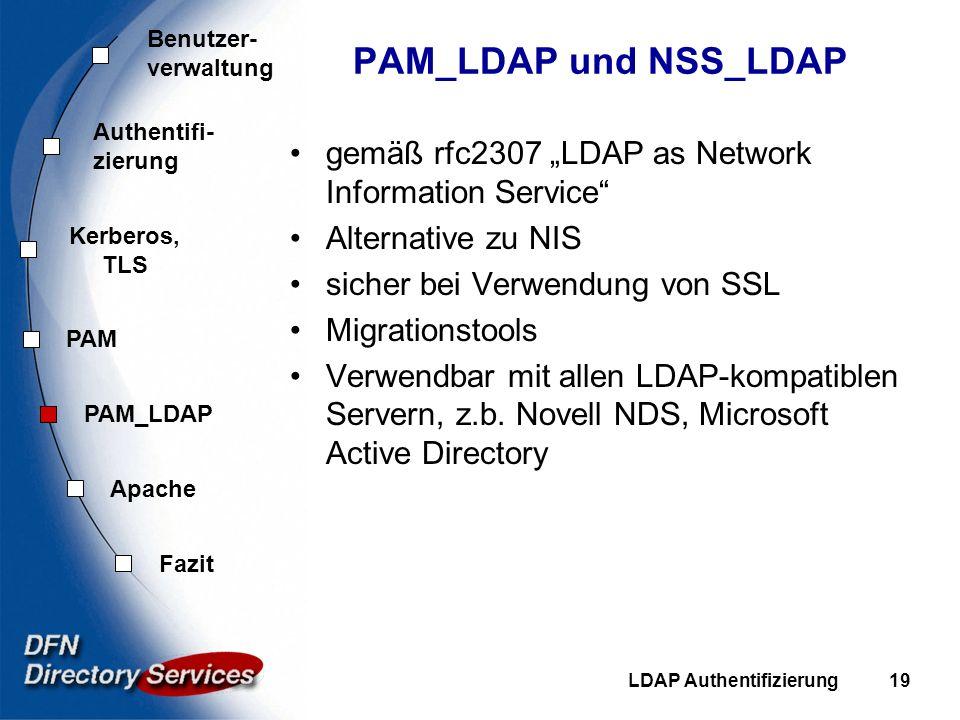 "PAM_LDAP und NSS_LDAP gemäß rfc2307 ""LDAP as Network Information Service Alternative zu NIS. sicher bei Verwendung von SSL."