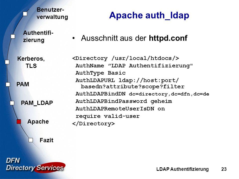 Apache auth_ldap Ausschnitt aus der httpd.conf