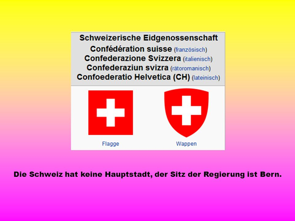 Die Schweiz hat keine Hauptstadt, der Sitz der Regierung ist Bern.